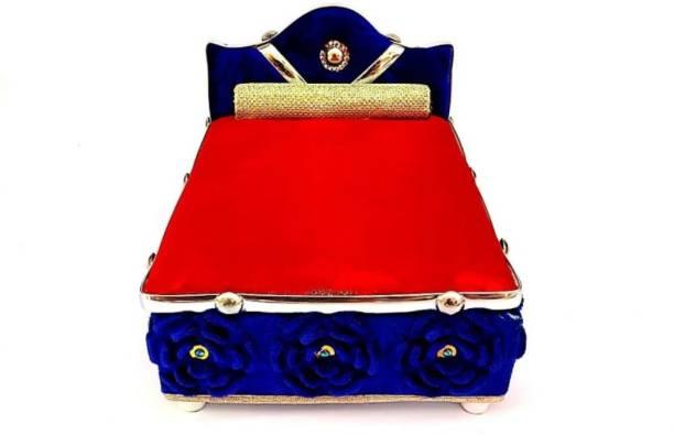 krishnagallery1 Laddu gopal Double Pillow Bed Wooden Quality Platininum Bed (0 To 6 No.size laddu gopal ) Wooden Pooja Chowki
