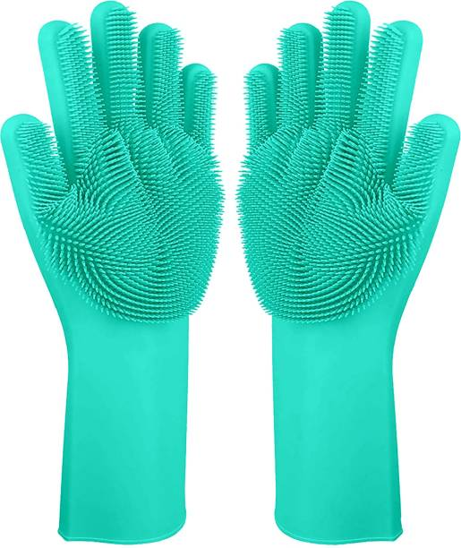 Flipkart SmartBuy Silicon Household Safety Wash Scrubber Heat Resistant Kitchen Gloves for Dish washing, Cleaning, Gardening Wet and Dry Glove