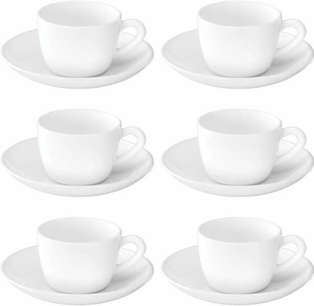 BOROSIL Opalware Present SNOW WHITE 6 pcs cup saucer Set {Cup 140ml (6 pcs)    Saucer 135mm (6 pcs)}