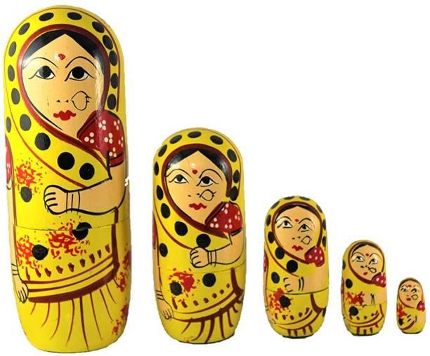 ZemPark Wooden Matterial Gudiya toy 5 pics(Multicolors)