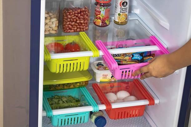 3D METRO SUPER STORE Fridge Organizer Drawer - 4 pcs Adjustable Fridge Storage Basket, Fridge Racks Tray Sliding Storage Racks Fruits/Vegetables Kitchen Rack Utensil Kitchen Rack