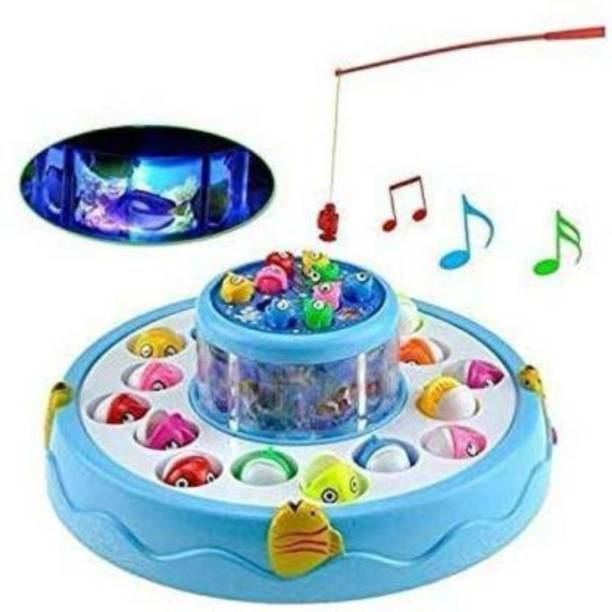 Kidz World Electronic Fish Catching Game Musical Activity with 26 Fishes 4 Pods with Sound and Light Function Toys for Kids