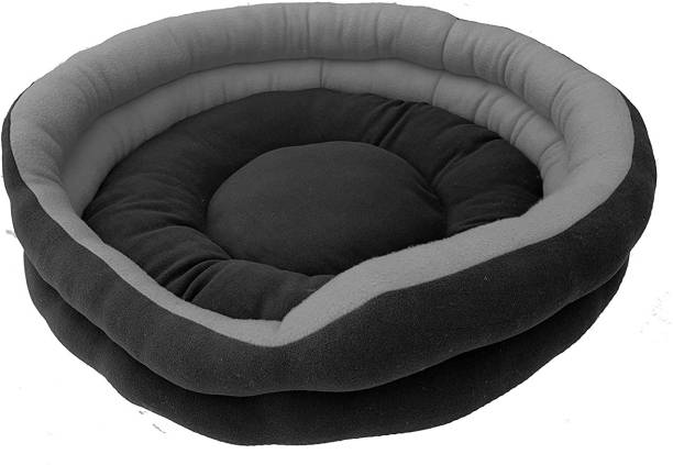 RK PRODUCTS Gry with Black round (1) L Pet Bed