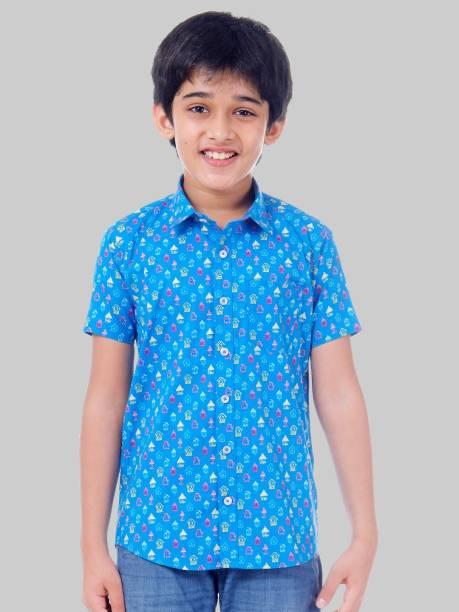 Being Fab Junior Boys Printed Casual Blue Shirt