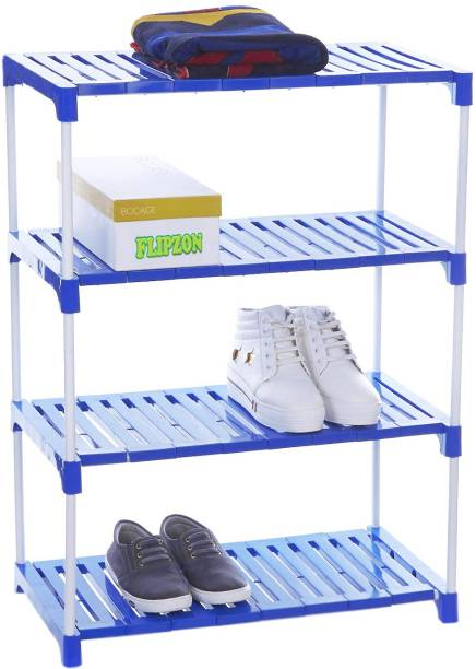 FLIPZON Strong Rack Organizer for Shoe/Clothes/Books - (Need to Be Assemble - DIY)- (Foster) Metal, Plastic Collapsible Shoe Stand