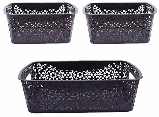 Cutting EDGE Small Turkish Basket   for storing Toiletries Beauty Products School Supplies Fruits Vegetables Set of 3   (1 x Medium [6L]   2 x Small [2.5L])   Black Storage Basket