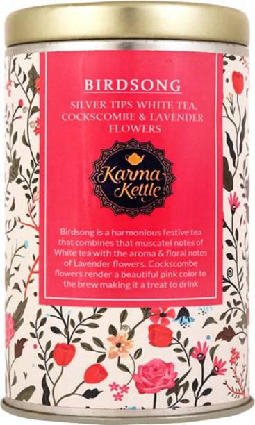 Karma Kettle Birdsong Silver Tips White Tea with Lavender Flowers, cockscombs Flowers White Tea Tin
