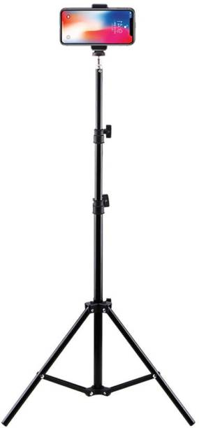 """kluzie 6.9"""" feet (200cm) strong Metal mobile phone tripod/camera stand,beauty ring fill light stand, photography umbrella ,selfie video recording [2.1 meters tripod] with mobile holder clip Tripod"""
