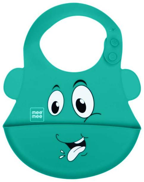 MeeMee Water Resistant Drooler Bib with Pocket (Green)