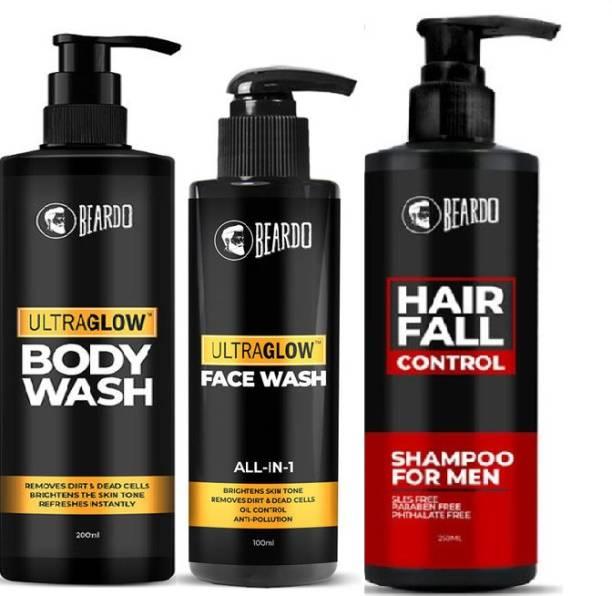 BEARDO Bath and Body Combo with Hair Fall Control Shampoo, Ultraglow Facewash and Bodywash | Made in India