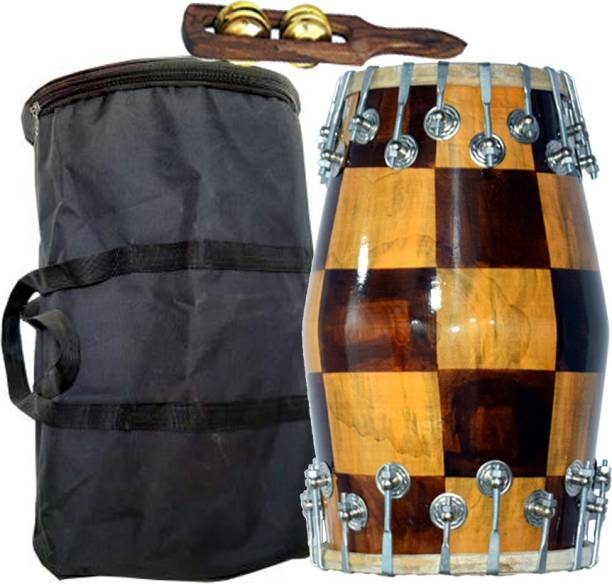 NSR Traders NSR Professional Dholak New Check Design With Bag And Kartal 01 Nut & Bolts Dholak