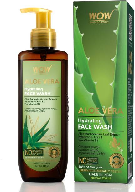 WOW SKIN SCIENCE Aloe Vera Hydrating Gentle  - With Aloe leaf Extract, Pro Vitamin B5 - For Cleansing, Hydrating Skin - No Parabens, Sulphate, Silicones & Color - 200 mL Face Wash