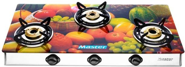 Master by Master Imperio Designer Glass Top 3 Burner Large Stainless Steel, Glass Manual Gas Stove