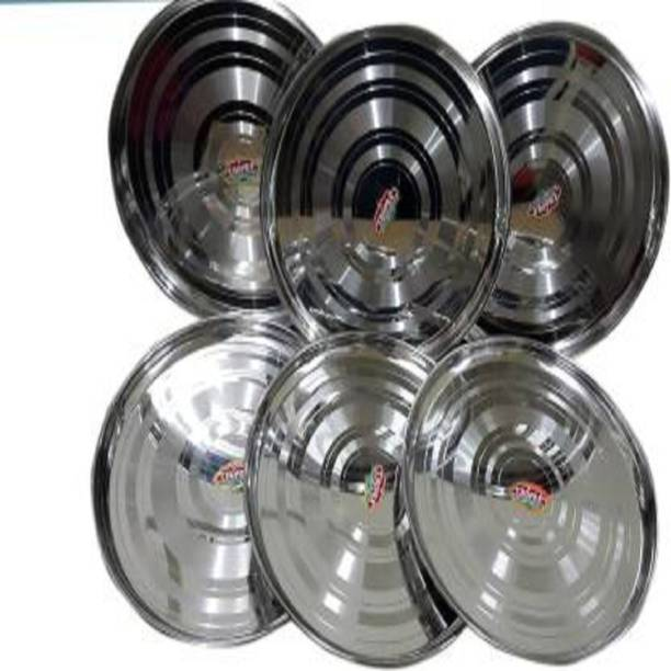 Vedant Vedantsteel Stainless Steel Thali Plate Set Dinner Plate (6 Units) Dinner Plate (6 Dinner Plate) Rice Plates