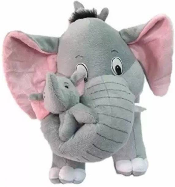 Grizzly Best Quality Stuffed Spongy Hugable Cute Elephant With Baby Cuddles Soft Toy For Kids  - 40 cm