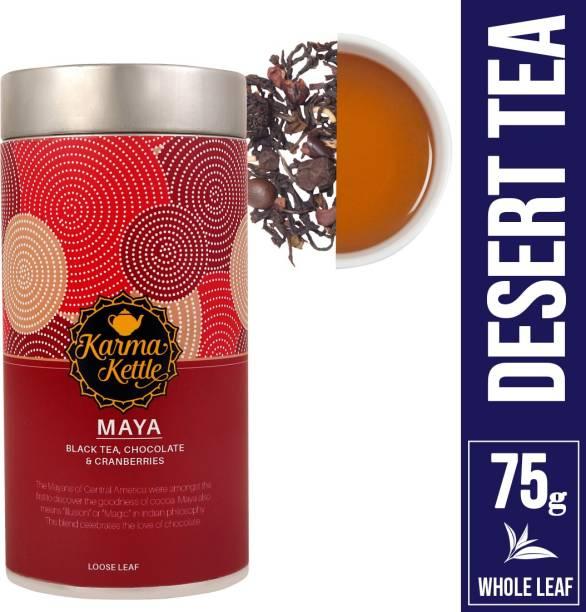 Karma Kettle Maya Chocolate Tea with Chocochips, Coffee Beans, Cranberry, Choconibs and Chocolate Black Tea Tin