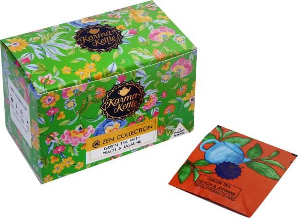 Karma Kettle Green tea with Peach & Jasmine Jasmine, Peach Tea Box