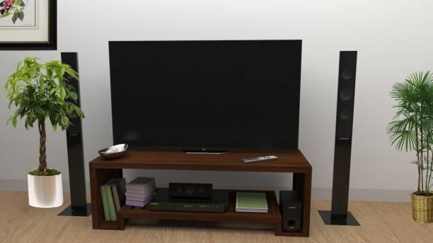 Flipkart Perfect Homes Solid Wood TV Entertainment Unit Finish Color   Walnut, Pre assembled