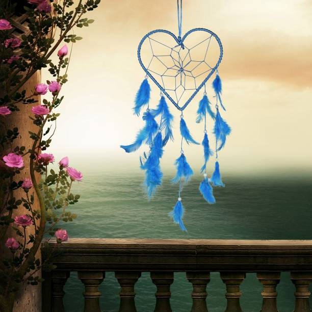Ryme Heart Shape Blue Car And Wall Hanging Dream Catcher Wool Windchime