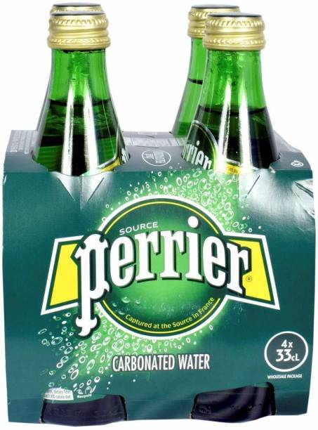 PERRIER Carbonated Water( sparkling water) 330ml pack of 4 Glass Bottle