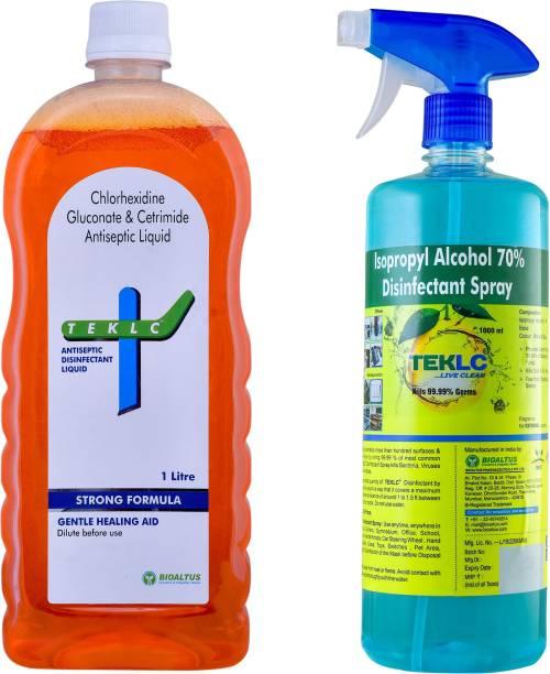 TEKLC Antiseptic Liquid 1Lit + Disinfectant Spray 1Lit Antiseptic Liquid