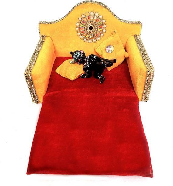 krishnagallery1 Laddu Gopal Bed Super Soft Sofa Cum Bed 0 To 6 No. Laddu Gopal Sofa Wooden Quality Wooden Pooja Chowki