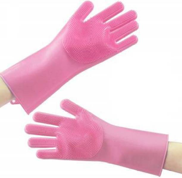 Appcloud Reusable Silicone Dishwashing Gloves, Pair of Rubber Scrubbing Gloves for Dishes, Wash Cleaning Gloves with Sponge Scrubbers for Washing Kitchen, Bathroom, Car & More Wet and Dry Glove
