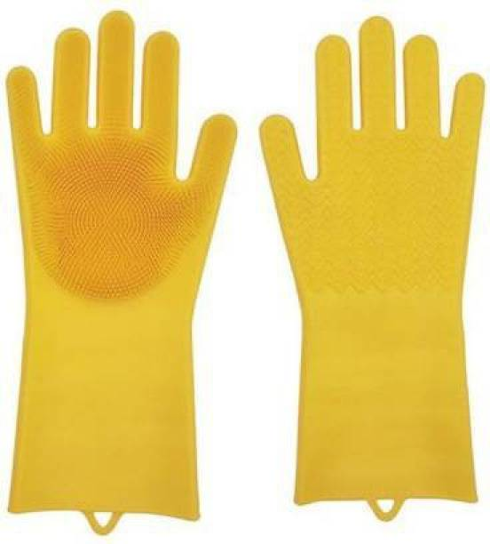 Avlokan Scrubbing Gloves Magic Silicone Reusable Multifunctional Rubber Dish Washing Glove Wet and Dry Glove Set