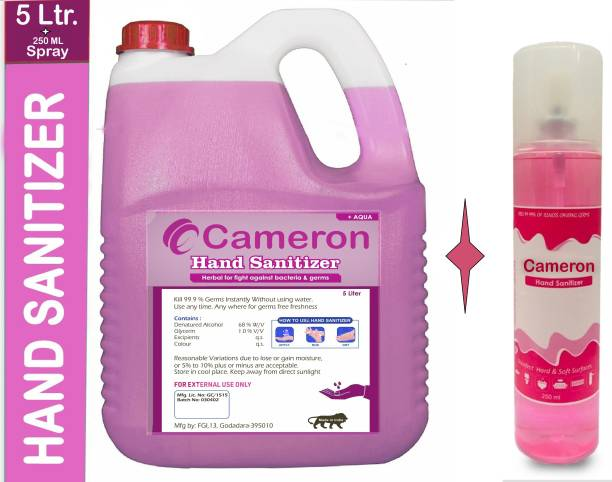 CAMERON Rose Flavor Liquid Based 69% alcohol Kills 99.9% Germs for virus protection Sanitizer or Spray (5 L) Hand Sanitizer Can