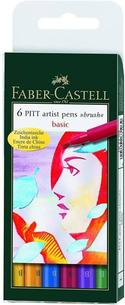 FABER-CASTELL Pitt Artist Pen wallet of 6 basic shades