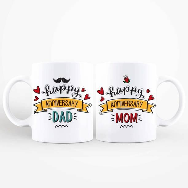 purezento Happy Anniversary Mom Dad Ceramic Coffee Mug
