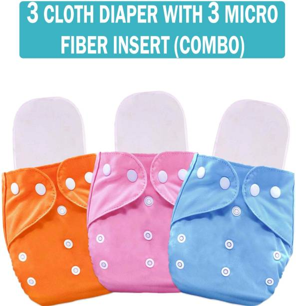 MOM'S PRIDE Reusable Solid Pocket Cloth Diapers With Microfiber Inserts Pack of 3 (Multicolor)