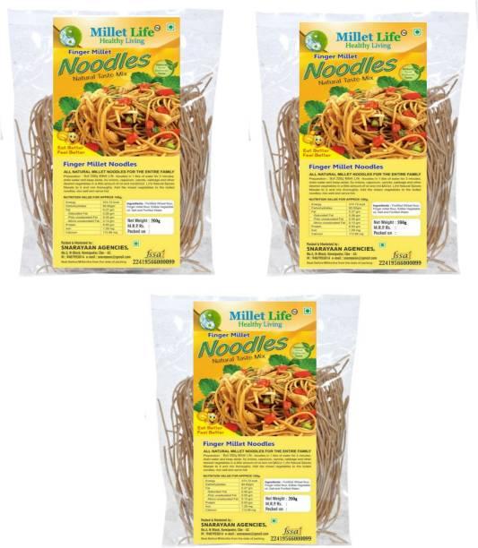 Millet Life Ragi ( Finger Millet ) Noodles 600g ( 3*200g ) Pack of 3 Tasty and Nutritious Vegetarian Noodles Instant Noodles Vegetarian