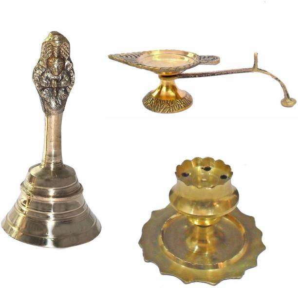 Gifts & Decor Pooja Essentials Combo pack of Pooja Bell, Diya & Agarbatti Stand Brass