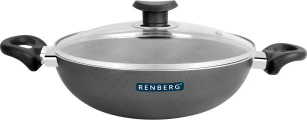 Renberg Non-Stick Kadai With Glass Lid 24cm (RBIN-2205) Kadhai 24 cm diameter with Lid 2.5 L capacity