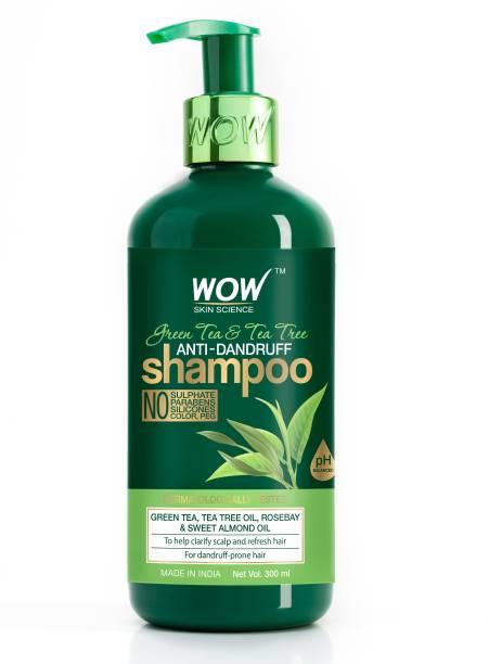 WOW SKIN SCIENCE Green Tea & Tea Tree Anti-Dandruff Shampoo - NO Sulphates, Parabens, Silicones, Color & PEG - 300mL