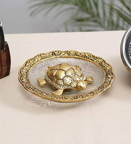 Flipkart SmartBuy Feng Shui Tortoise on Plate for Good Luck Handicraft Showpiece (Kachhua/Turtle with Glass Plate for Vastu) (Color: Copper, Diameter: 5.5 inch) Decorative Showpiece  -  1 cm