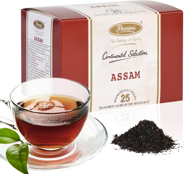 Premiers Assam Tea | Garden Fresh Teas | 25 Cups | 50 Grams | Tea Bags Black Tea Bags Box