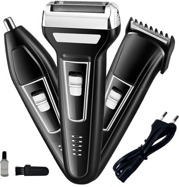 MoveOn SUPER 3in1 Professional Waterproof Chargeable Ultra Trim Beard Mustache Trimmer Hair Clipper Foil Shaver Nose Ear Trimmer Multigrooming Kit  Runtime: 30 min Grooming Kit for Men & Women