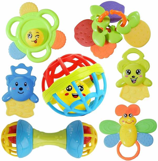 PRESENTSALE Colourful Plastic Non Toxic BPA Set of 7 Attractive Rattle for New Borns and Infants Rattle