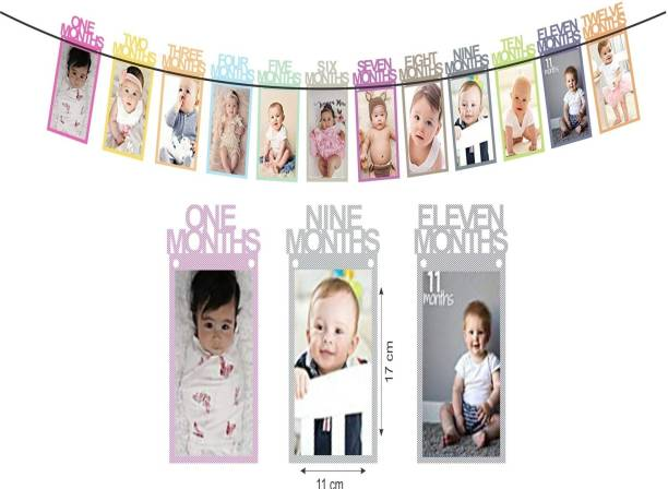 PartyballoonsHK 1 to 12 Month Rainbow Baby and Couple Banner with Front Side Photo Space (1-12 Month Multicolor Banner) Banner