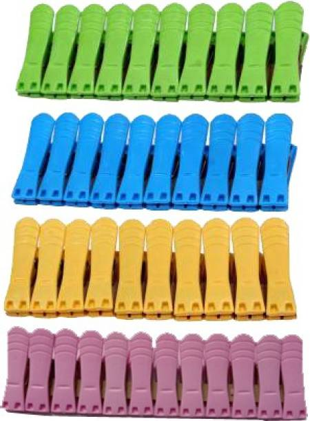 PEMIC ?PEMIC CLIP Plastic Cloth Clips (Multicolor Pack of 40 Super Strong High Quality Cloth Plastic Clips, Firm grip stainless steel Strong desing Usefull in home and laundry heavy duty spring metal clip. Plastic Cloth Clips