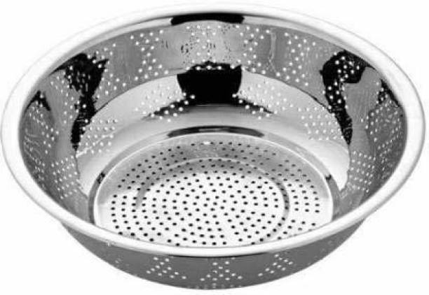 Bhati Stainless Steel Colander Strainer for Rice, Vegetable, Fruits Basket with Handle for Kitchen Strainer Strainer
