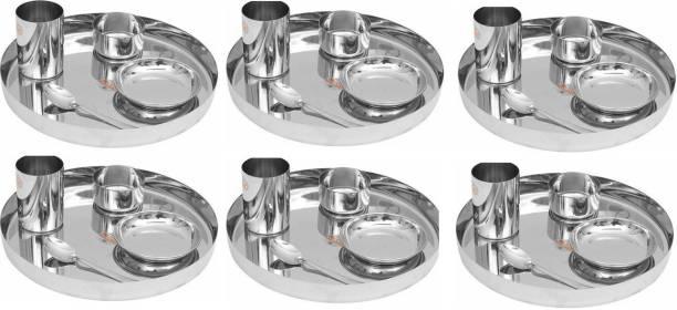 LIMETRO STEEL Pack of 30 Steel High Quality Stainless Steel 30 Pcs Steel Dinner Set (6 Dinner Plates, 6 Spoons, 6 Halva Plates, 6 Glasses, 6 Bowls) Dinner Set