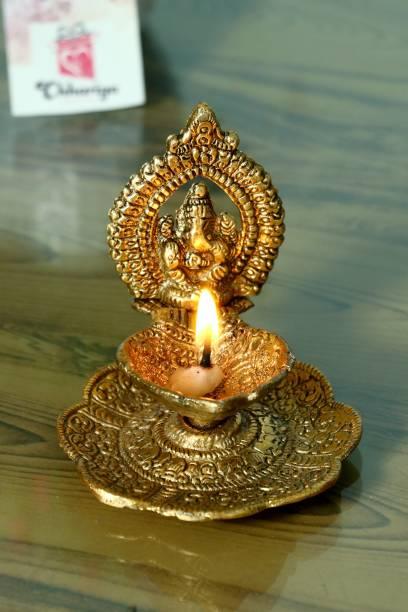 Chhariya Crafts Ganesh Diya For Home And Office Temple Aluminium Table Diya