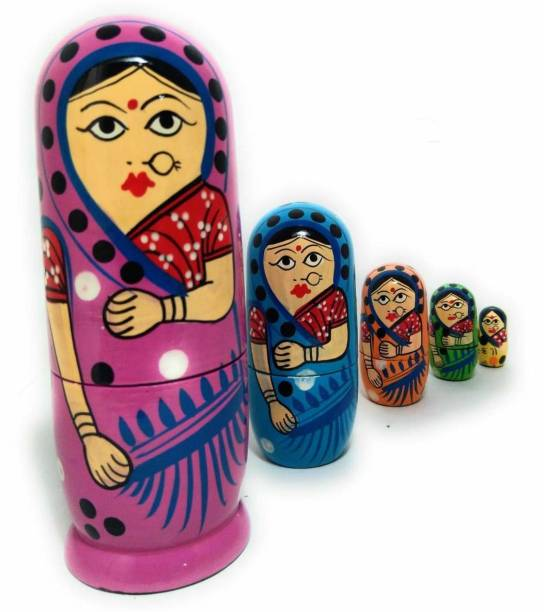 ZemPark Wooden Matterial Gudiya toys Orange 5 pics(Multicolor)