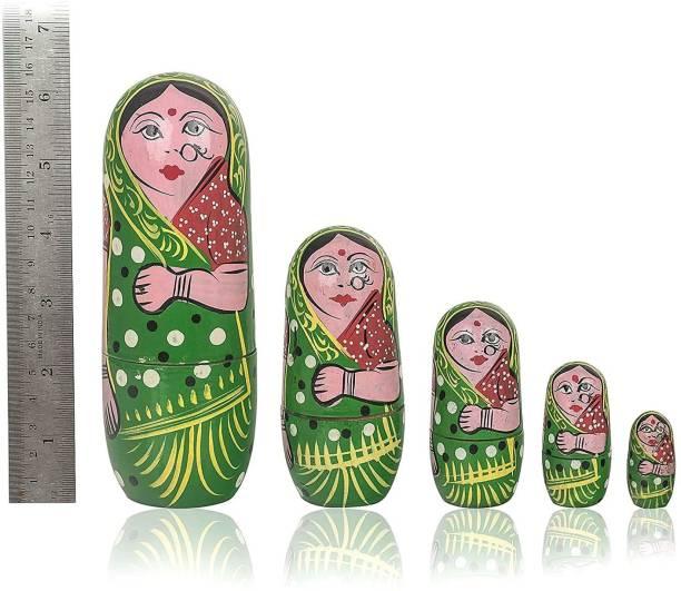 ZemPark Wooden Matterial Matryoshka Gudiya toys Green color 5 pics Hand Made
