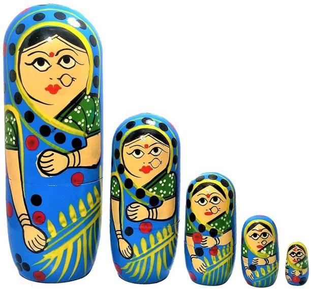 ZemPark Wooden Matterial Matryoshka Gudiya toys Blue color 5 pics For Baby