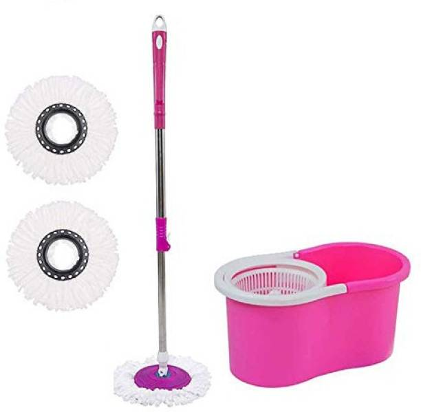 SURABHI Home Cleaning 360° Spin Floor Cleaning Easy Advance Tech Bucket PVC Mop & Rotating Steel Pole Head with 2 Microfiber Refill Head Mop Set Mop Set