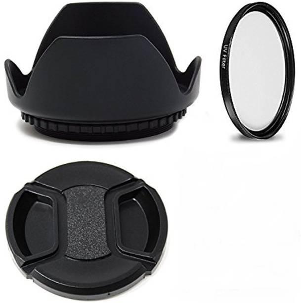 SHOPEE COMBO 58MM Flower Lens Hood (Black) FOR 18-55MM 55-250MM Lens Hood + uv filter+ lens cap( pack of 3)  Lens Hood